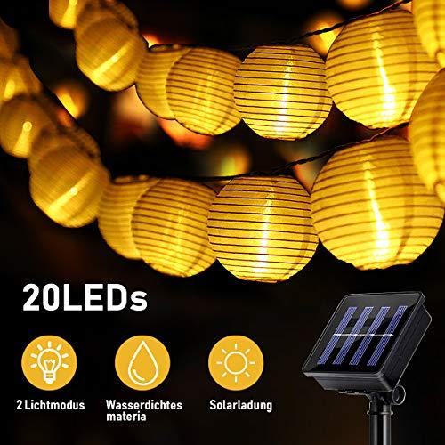 Solar Lampen lampion, SKEY Solar Lichterkette Lampion Außen 20 LED Laternen 2 Modi Wasserdicht Solar Beleuchtung für Garten, Hof, Hochzeit, Fest Deko (Warmweiß)