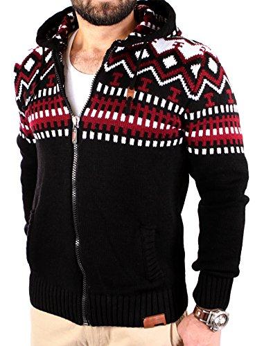 Reslad Herren Grobstrick Norweger Pullover Winter Strickjacke Kapuzenpullover RS-3104 Schwarz