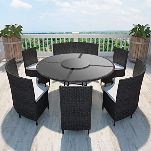 Festnight Mobilier de Jardin Salon de Jardin 13 pcs Résine Tressée pour Jardin Balcon ou Terrasse Noir et Blanc