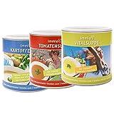 Suppen zum abnehmen - Suppen Diät HOCHWERTIG (max. 0.2g Fett) Vorteilspack - Tomatensuppe 300g - Vitalsuppe (Molke) 400g - Kartoffelsuppe 250g – Basisch ohne chemische und synthetische Zusätze