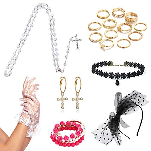 8IGHTEEN COSTUME Damen Outfit Accessoires Kreuz Halskette Handschuhe für 1980er Jahre Thema Party Supplies (White)