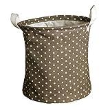 Andux Cestos para la colada plegables Bolsas para la colada,niños juguetes Almacenamiento y organización ZYL-02 (Coffe Dot)