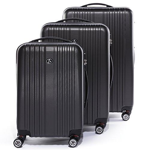 FergÉ set di 3 valigie toulouse - leggero bagaglio rigide dure da 3 abs duro tre pz. valigie 4 ruote (rotelle multidirezionali 360°) grigio