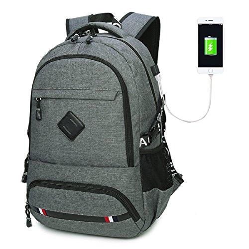 YUEER Schulterbeutel Männer Studenten Schultaschen Lässig USB-Ladeanschluss Rucksäcke Große Kapazität Laptop-Tasche A