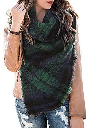 LYworld XXL Damen Schal Kariert übergroßer quadratisch Deckenschal Karo Tartan Streifen Plaid Muster Oversized Fransen Poncho -