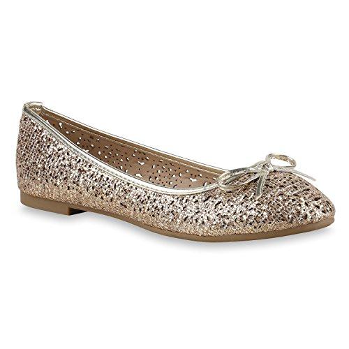 Glitzer Damen Loafers Slippers Bequeme Flats Modisch Party Schuhe 131621 Gold Gold 38 | Flandell® (Gold Ballerinas Schuhe)