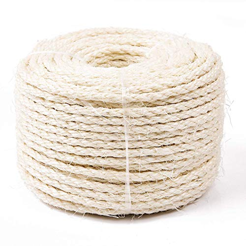 Yangbaga Natural Sisal Seil 6mm Ersatz Alte DIY Zubehör String ideal für den Austausch Katze Baum Griffoir (50 m, weiß)
