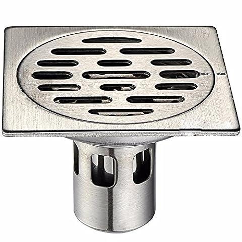 KHSKX-Edelstahl, Flachwasser Dichtung Deodorants Wc Bodenablauf Quadratisch Küche Toilette Deodorants 10*10 Cm Boden Leckage