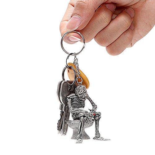 Autoschlüssel Ringe Wc Schädel Schlüsselbund Kühle Geldbörse Tasche Dekor Schlüsselanhänger Gummi Mini Auto Schlüsselanhänger Auto Styling Interieur Accessoires 3er, Silber ()