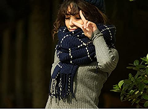 Autumn and Winter Field Word Lattice Scarf Imitation Cashmere Edge Fringed Scarf Ladies Air Conditioning Shawl,Navy