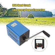 Manuelle Générateur 2000 RPM,Jectse 20W Générateur de charge à manivelle portable USB de forte puissance de charge dynamotor d'urgence
