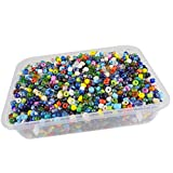 #1: eshoppee 6/0, 4mm multicolor glass seed beads 200 gm (approx 4000 beads) for jewellery, art and craft making diy kit. (multicolor 200 gm)