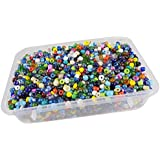 [Sponsored]eshoppee 6/0, 4mm Multicolor Glass Seed Beads 200 Gm (Approx 4000 Beads) For Jewellery, Art And Craft Making DIY Kit. (Multicolor 200 Gm)