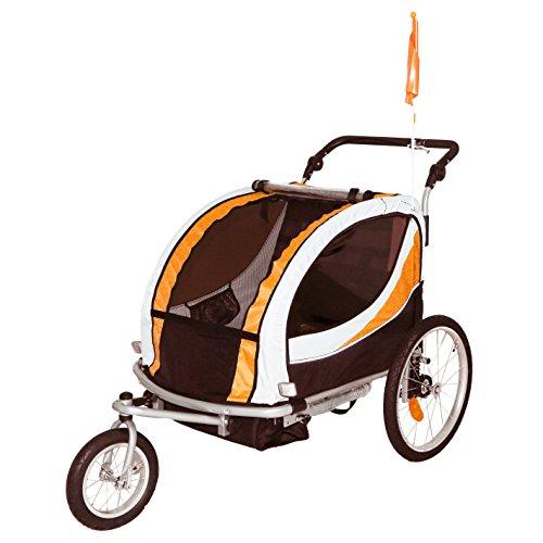 Tiggo Jogger Remorque à Vélo 2 en 1, pour Enfants + Amortisseur 802-D03 JBT03N - Orange-No