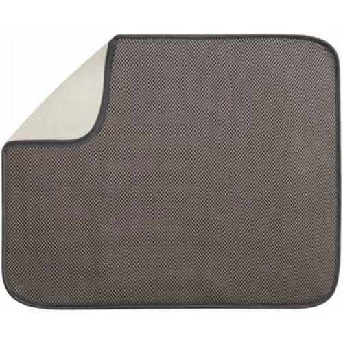 iDesign iDry Abtropfmatte groß, dünne Spülbeckenmatte aus Polyester zum schnellen Trocknen von Geschirr, mokka-/elfenbeinfarben