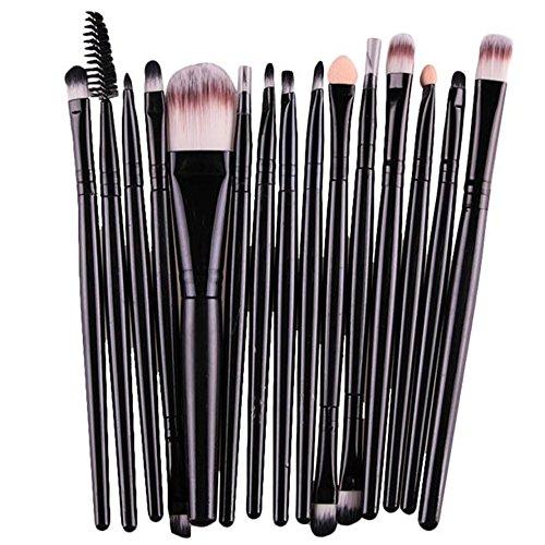 Fami 15 pcs / Sets Eye Shadow Foundation Brosse à Lèvres Brosse Maquillage Brosses Outil,Noir