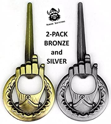 Hand of the King Bottle Opener 2-Pack - Game of Thrones Style - Bronze and Silver - Perfect Barware Man Cave Accessories - Unique GoT Custom Cap Lifter Collectible - Winter is Coming