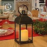 WRalwaysLX - Lanterna decorativa con candela senza fiamma e timer, per interni ed esterni, con 3 batterie AAA, in plastica con sfumature in bronzo, Bronzo, Marrone, Quadrato
