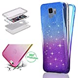 HMTECH Galaxy A6 Plus 2018 Hülle Glitzer Bling Gardient Full-Body 360 Coverage Front + Back Double Beidseitiger Durchsichtig Silikon TPU Schutzhülle für A6 Plus 2018,Bling Color TPU:Blue Purple