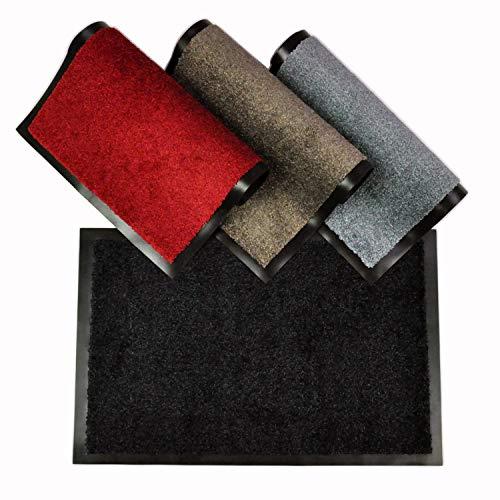 WohnDirect Fußmatte für Innen mit Rand - Schmutzfangmatte für die Haustür - rutschfest und waschbar - Fussmatte in versch. Größen - Door Mat - 50x70 cm - Schwarz