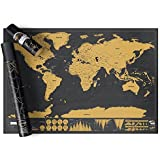 DaKos Tin Scratch Off Map of The World Poster, Wall Art for Loved Ones and Travelers (Black Gold, 42x30 cm)