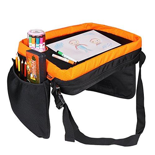 KIPTOP Kinder Auto Knietablett Nette Tierdrucke Sketchpad Multifunktions Reise Tablet Speicher Netzbeutel Esstisch Tablett für Kinder (Knietablett Gelb)