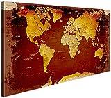 """LANA KK - Weltkarte Leinwandbild mit Korkrückwand zum pinnen der Reiseziele – """"Weltkarte Nostalgie"""" - deutsch - Kunstdruck-Pinnwand Globus in rot, einteilig & fertig gerahmt in 120x80cm"""