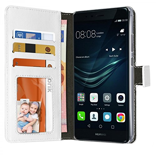 eFabrik Handyhülle für Huawei P9 Hülle Schutz Tasche Hülle Cover Bookstyle Etui Aufsteller Innenfächer Leder-Optik weiß