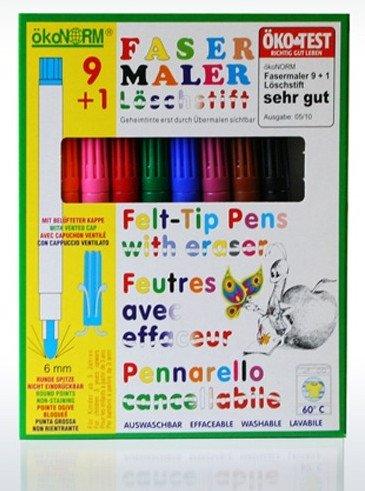 Preisvergleich Produktbild nawaro Fasermaler mit Löschstift | 9 Faserstifte, 1 Löschstift (auch als Geheimtinte verwendbar)