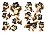 I-love-Wandtattoo WAS-10294 Kinderzimmer Wandsticker Set Tanzende Eulen mit Brillen zum Kleben Wandtattoo Wandaufkleber Sticker Wanddeko