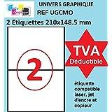 100 étiquettes 210 x 148.5 mm - soit 50 feuilles A4 Réf UNIVERS GRAPHIQUE UGCMO1-50