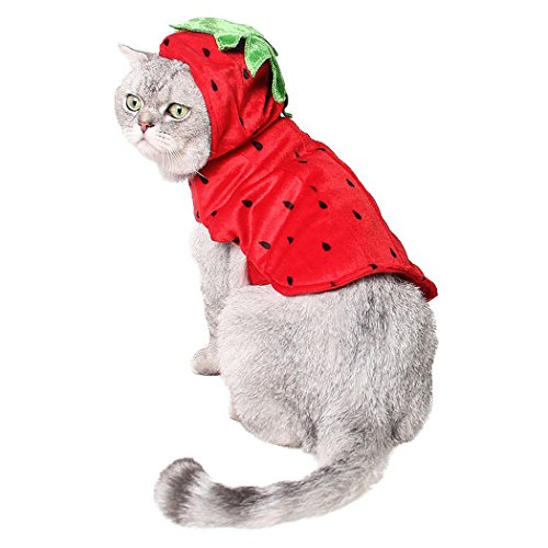 Imagen de ropa de gato, legendog navidad mascota bon capucha fresa decorativa ropa para mascotas disfraz de navidad para perro gato alternativa