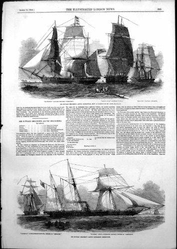 Copie antique en expédition arctique d'Edouard Belchers recherchant John Franklin 1852 par original old antique victorian print