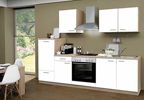 idealShopping Küchenblock mit Cerankochfeld Classic 270 cm in weiß