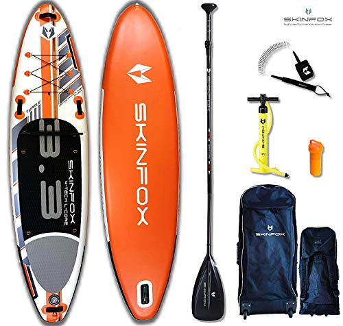 SKINFOX Turtle orange Stand up Paddle Board Set aufblasbar Paddelboard|TESTSIEGER SUP|335x78x15 cm|Tragkraft 175 kg|(Board,Rucksack m. Rollen,Doppelhub-Pumpe,Repair-Set,Carbon-SUP Paddel,Leash)