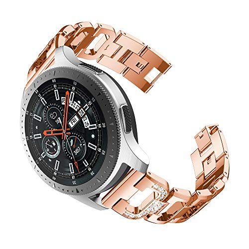 Preisvergleich Produktbild Bescita Edelstahl Armband / Metalluhr Luxuriöse Mode Ersatz Uhrenarmband Metall Strap Stahlgürtel Uhr Erstatzband Wrist Band für Samsung-Galaxie-Uhr (46mm) (Roségold)
