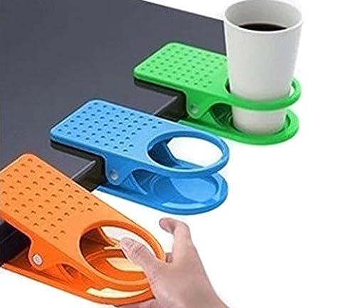 3Stück Colorful Schreibtisch Becherhalter Clip Lap Tragbarer Tisch Ordner Tisch Manager Clip Kaffee Drink Becher Wasser Flaschen Ständer mit starkem Halt zufällige Farbe Halter für Home und Office
