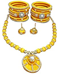 Alekip Silk Thread Combo Of Bangles, Earrings & Necklace Jewellery Set For Women -Yellow - STJSET01YLW