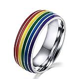 OAKKY Herren Damen Edelstahl Heiße Art Regenbogen Homosexuell Schmuck Ring Silber Größe 54 (17.2)