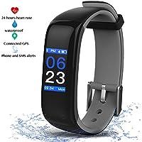 Fitness Tracker Pulsera Inteligente Monitor con Pantalla Táctil en Color,Monitor de Latido del Corazón,Monitor de Sueño,Notificación/Podómetro,Reloj Inteligente con Bluetooth para Android y iOS (Gris)