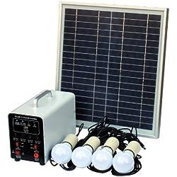 15 W off-Grid sistema de Solar con 4 LED luces, Panel Solar, batería y Cables - completo de accesorios de iluminación Solar