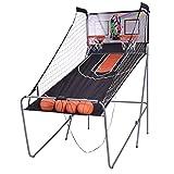 vengaconmigo Panier de Basketball Pliable Jeu de Basketball Arcade Double Panier 4 Ballons et Un Pompe Compteur Électronique Automatique Machine De Tir 202x107x205CM