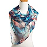 #8: Ziory Blue 1 Pc fashion leaves printing long georgette silk scarf for Girls and Women