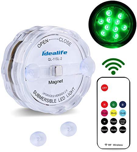 Unterwasser Licht mit Fernbedienung - Idealife Pool Licht Teichlicht mit Magnet LED Unterwasserlicht für Pool Teich Party LED Beleuchtung Unterwasserfür Vase Aquarium Deko Whirlpool