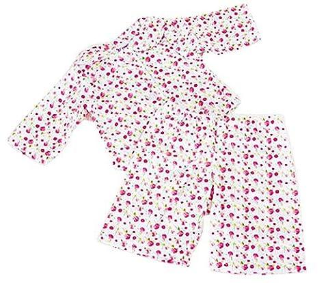 FRILLY LILY PINK FLOWER PYJAMA SET FOR 12-14 INCH [30-35CM]
