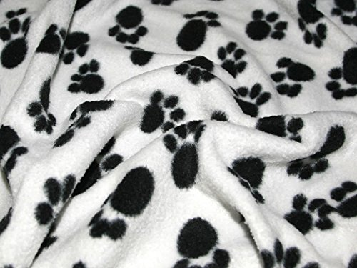 Tierpfoten Anti-Pille Polar Fleece Stoff schwarz & Ivory-Meterware + Gratis Minerva Crafts Craft Guide - Gratis-pille