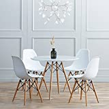 Joolihome Round Dining Table and Chairs set 4,Eiffel Style Wooden for Office Lounge Dining Kitchen White