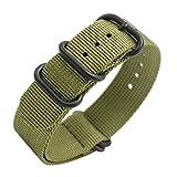 Uhrenarmband Nato Strap 20mm 22mm Premium Ballistic Nylon Militär Uhr Armband 5 Ringe Schwarz Swiss Zulu Uhrenband mit Federstege Werkzeug und 4 Federsteges Bonus (Army Green, 22mm)