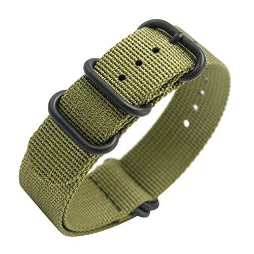 Uhrenarmband Nato Strap 20mm 22mm Premium Ballistic Nylon Militär Uhr Armband 5 Ringe Schwarz Swiss Zulu Uhrenband mit Federstege Werkzeug und 4 Federsteges Bonus (Army Green,...