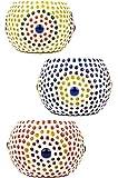 6er Set Orientalisches Mosaik Windlicht Ajan 9 cm groß Bunt   Orientalische Glas Teelichthalter orientalisch   Marokkanische Windlichter aus Glas als Dekoration   6 Stück - 3